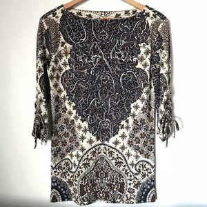 Tory Burch 100% Silk Floral Boatneck Tunic Top
